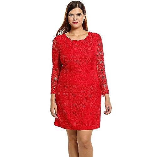 Plus Size Red Lace Dress: Amazon.com