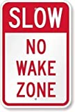 "GHEJU Tin Sign Vintage Metal Sign Slow No Wake Zone Sign Aluminum Sign 11.8"" X 7.8"""