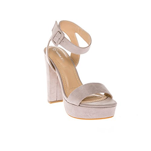 CALICO KIKI Women's Shoes Buckle Ankle Strap Open Toe Chunky High Heel Platform Dress Sandals (11 US, Grey_SU)