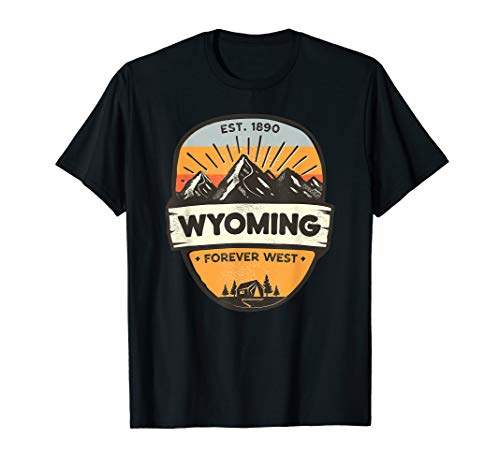 Wyoming Forever West, Vintage Retro Mountain Camping Design T-Shirt