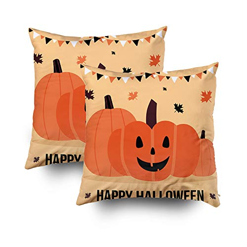 Shorping Decorative Throw Pillow Cover, Home Décor Throw Pillow Cushion Cover Happy Halloween Vector Illustration Card with Jack o Lantern Pumpkins Garlands and Maple Leaves