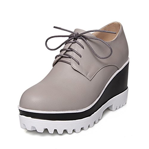 Amoonyfashion Donna Pu Solido Lace-up Tacchi Alti Tacchi Alti Pompe-scarpe Grigie