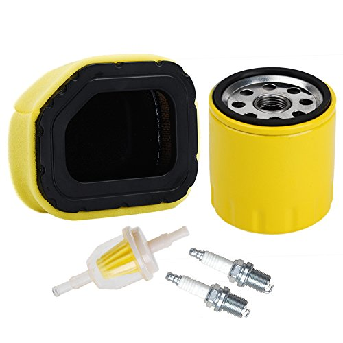 HIFROM 32 083 03-S 32 883 03-S1 Air Filter with 52 050 02-S Oil Filter 25 050 03-S Fuel Filter Spark Plug Tune Kit for Kohler SV710 SV715 SV720 SV730 SV735 and SV740 Lawn Mower (Twin Courage)