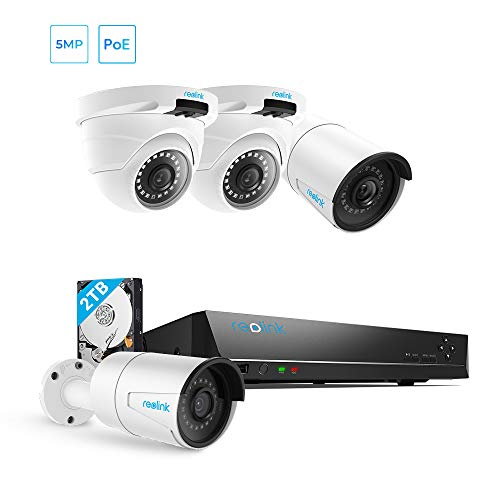 Reolink 5MP PoE Home Security Camera System, 8 Channel NVR Recorder (2TB Hard Drive Built-in) and 2560x1920p Surveillance IP Camera...