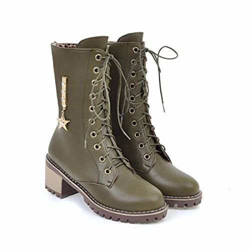 Women's big boots, metal stars, motorcycle boots, mid cylinder boots green