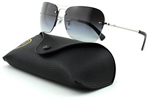 Ray Ban Gray Lens (Ray-Ban RB3541 Unisex Rectangular Metal Sunglasses (Silver Frame/Gray Gradient Lens 003/8G, 61))