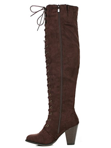 Womens Riding Suede Over The Chunky Knee Heel Camila High Up 48 Forever Boots Lace Brown PqwEfxZ