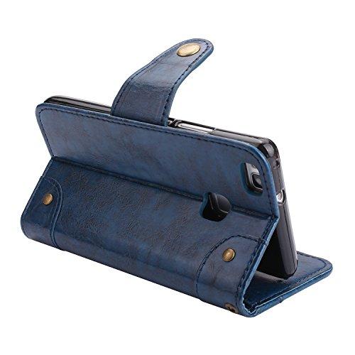 Huawei P9 Lite Hülle, Huawei P9 Lite Echte Rindsleder Brieftasche Hülle , COZY HUT® [Premium Leder Serie] [Wallet Case] Praktishe Ledertasche [Schwarz] Integrierter Aufstell Funktion und 5 Kartenfach  Vintage blau