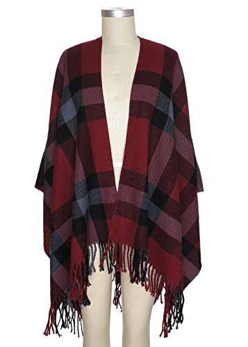 (Capelli New York Exploded Blocked Plaid Woven Ruana With fringe Red Combo One Size)