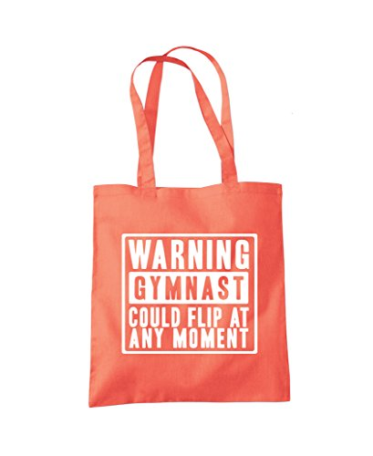 Warning Gymnast Could Flip at Any Moment - Gym bag Tote Shopper Fashion Bag Coral
