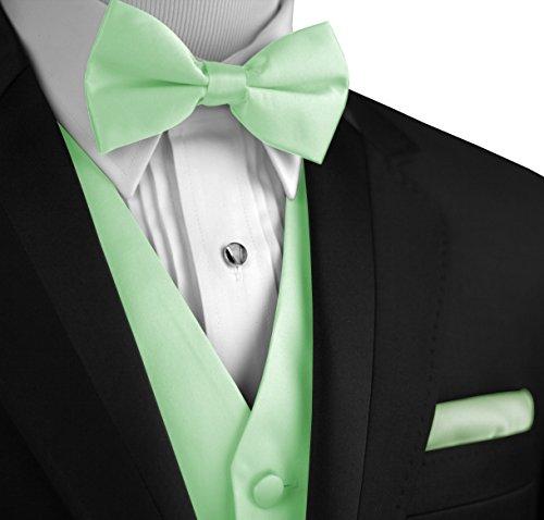 Italian Design, Men's Tuxedo Vest, Bow-Tie & Hankie Set in Mint