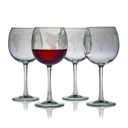 Etched Balloon Wine Glass - Susquehanna Glass Sonoma Grape Pattern Cut Glass Balloon Wine Glasses, Set of 4, 16 ounces