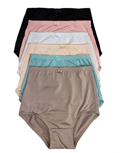 Women's 6 Pack Solid Satin High Waist Full Coverage Brief Underwear (medium)