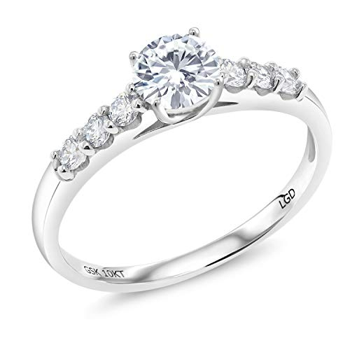 10k Gold Diamond Solitaire Ring - 10K White Gold Solitaire w- Accent Stones Lab Grown Diamond Ring Forever Brilliant (GHI) Round 0.50ct (DEW) Created Moissanite by Charles & Colvard (Size 5)