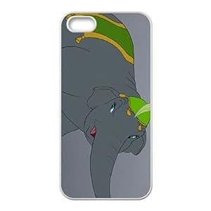 iPhone 5,5S Phone Case White Dumbo Catty the Elephant DZW9568314
