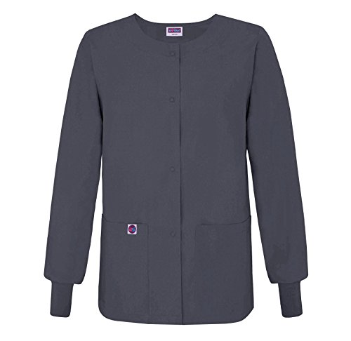 Durable Front Snaps (Sivvan Women's Scrub Warm-Up Jacket/Front Snaps - Round Neck - S8306 - Charcoal - 3X)
