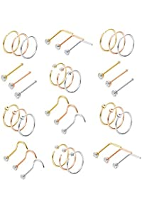 10PCS 10mm Small Thin Surgical Stainless Steel Open Nose Ring Hoop Piercing KXK