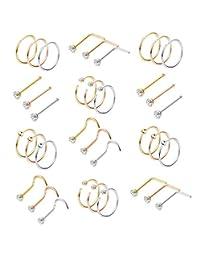 Milacolato 36-75pcs 316L Stainless Steel Nose Ring Hoop Nose Stud Piercing for Women Girls Hoop Cartilage Tragus Ear Piercing Set