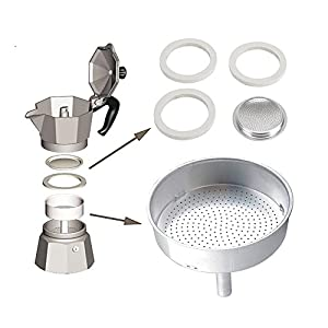 Podoy Replacement part for Bialetti Moka Express with Gasket Filter Aluminium Espresso Makers