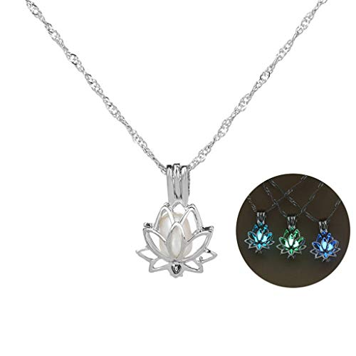 3 Colors Glow in The Dark Necklace Steampunk Hollow Pendant with Chain for Women (Lotus) -