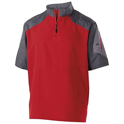 Men's Raider Pullover S/S Holloway Sportswear L Carbon Print/Scarlet