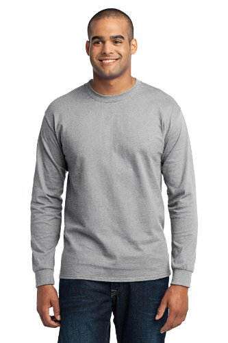- Port & Company Men's Tall Long Sleeve 50/50 Cotton/Poly T Shirt LT Ash