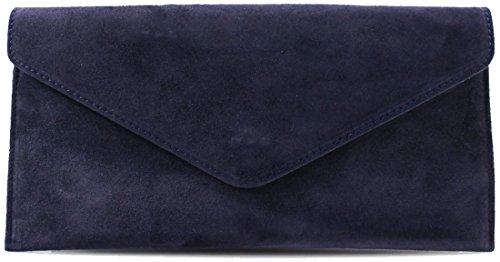 Genuine Italian Suede Leather Envelope Clutch Bags Party Wedding Purse Handbag Cross Over Bag Navy