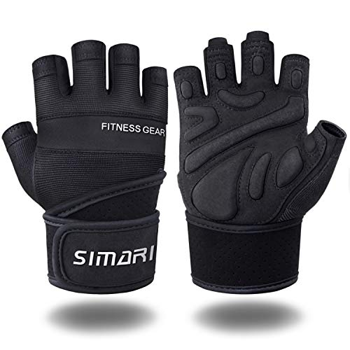 SIMARI Workout Glovesfor Women Men,Training Gloves with Wrist Support for Fitness Exercise Weight Lifting Gym Crossfit,Made of Microfiber and Lycra SMRG904(Black M)