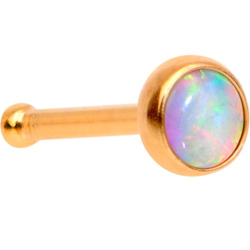 Body Candy Anodized Steel White 3mm Synthetic Opal Press Fit Nose Bone 20 Gauge (Gold Opal Nose Ring)