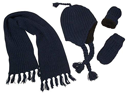 N'Ice Caps Boys and Baby Bulky Knit 3PC Hat/Scarf/Mitten Set with Sherpa Lining (Navy Infant, 6-18 Months)