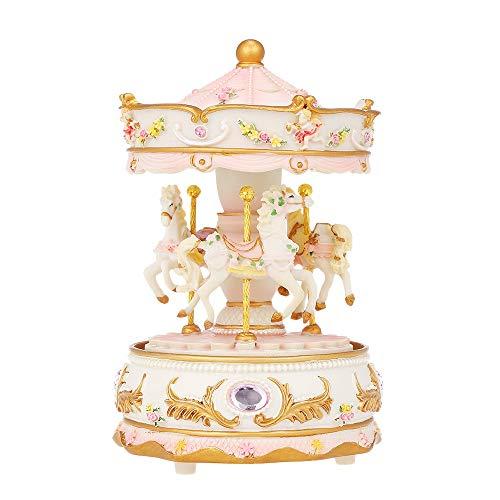 Gold Happy Mini Carousel Clockwork Music Box Speaker LED Merry-go-Round Musical Box Gift for Girlfriend s ren Christmas Festival
