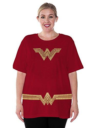 DC Comics Plus Size Womens T-Shirt Wonder Woman Logo Belt Costume (Dark Red, (Plus Size T-shirt Costume)