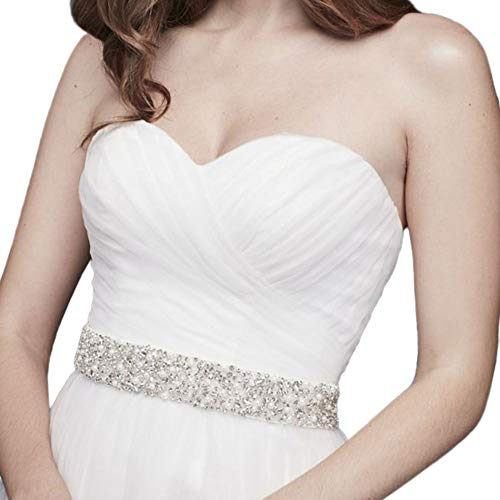 Scattered Crystal and Pearl Sash Style S2055, Ivory