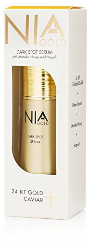 Price comparison product image Nia Gold Luxurious Anti-Aging Skin Care Dark Spot Serum with Vitamin C, 24KT Gold Caviar, Manuka Honey, and Propolis. For dark spots, redness, scars, skin blemishes. 1oz.
