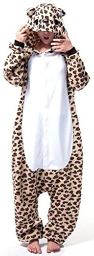 Leopard Costumes For Adults (ABING Halloween Pajamas Homewear OnePiece Onesie Cosplay Costumes Kigurumi Animal Outfit Loungewear,Leopard Bear Adult L -for Height 167-175CM)