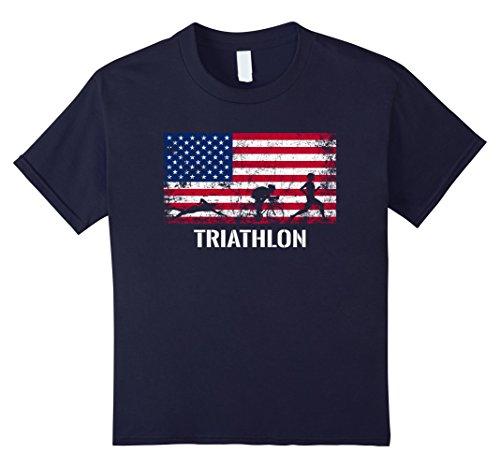 Kids American Flag Triathlon Shirt - Archery Team Gift. 12 - Triathlon Usa Team