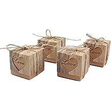 alikeke 100pcs Candy Favor Boxes Vintage Kraft Bonbonniere + 100pcs Burlap Twine, Love Heart Imitation Bark Gift Bag for Wedding Party Birthday Baby Shower Decoration