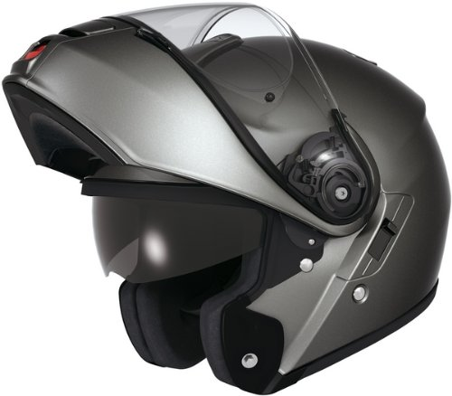 shoei neotec motorcycle helmet gunmetal grey raised visor.