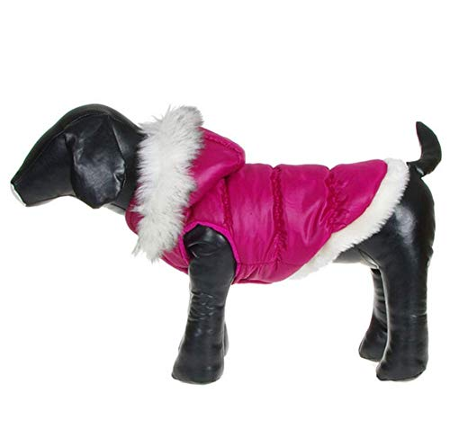 ZeroTone Dog Coat Detachable Hood, Warm Princess Style Dog Cat Pet Winter Clothes Rose-red XS
