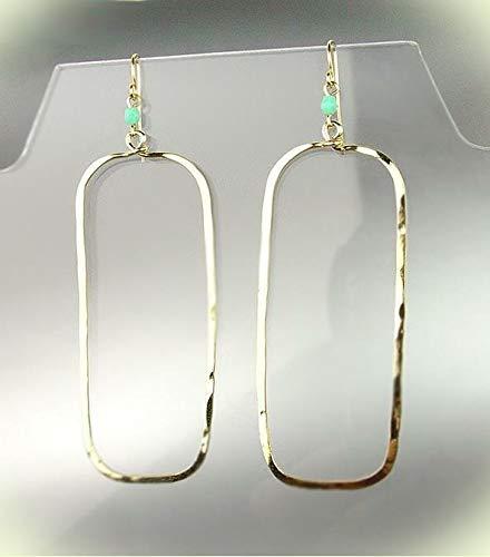 - Exquisite Artisanal Gold Rectangle Blue Aventurine Crystal Earrings For Women Set B9