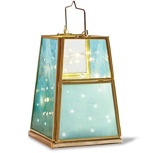 Centerpiece Accent - ORDER HOME COLLECTION Decorative Lantern with Battery-Operated LED String Lights, Turquoise Blue and Teal Brushed Glass, Gold Tone Frame, Trapezoid Lamp for Patios, Centerpiece, Home Accent, and More