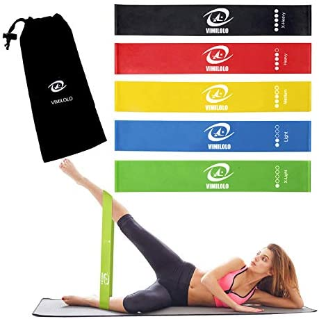 VIMILOLO Resistance Loop Exercise Bands with Instruction Guide, Home Fitness, Natural Latex Workout Bands for Legs and Butt Yoga and More 5 Set