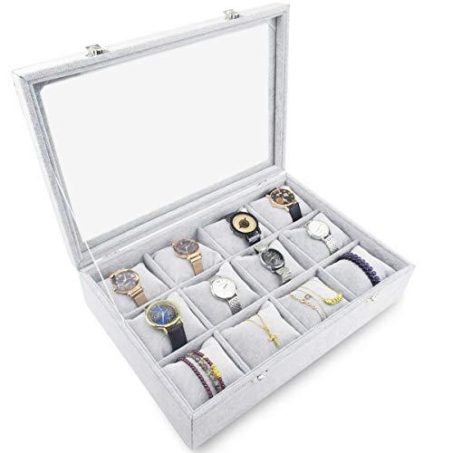 Watch Box Case 12 Slots Jewelry Organizer Holder Display Case Metal Buckle Bracelet Eyeglasses Storage Glass Top for Men and Women
