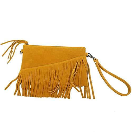 (Women Genuine Leather Tassel Shoulder Bag Summer Small Suede Fringe Chain Yellow Handbag Brown)