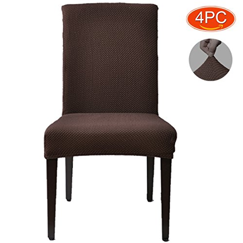 Gresatek Jacquard Stretch Dining Room Chair Slipcovers Fit any room in your home SOFT AND COMFORTABLE not easy to get dirty Brown 4 - Barn Pottery Leather