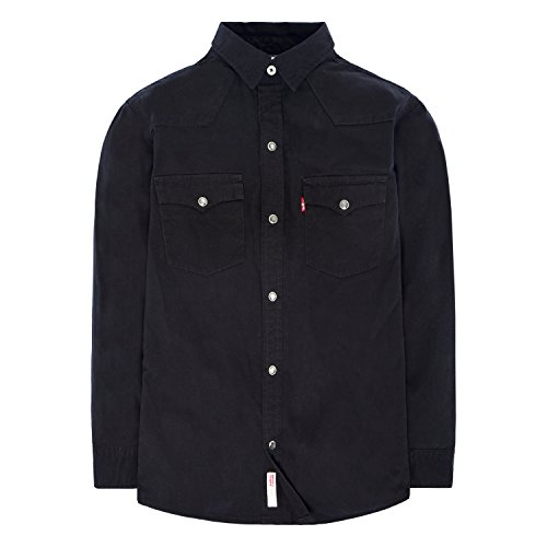 Levi's Boys' Big Denim Western Shirt, Black L