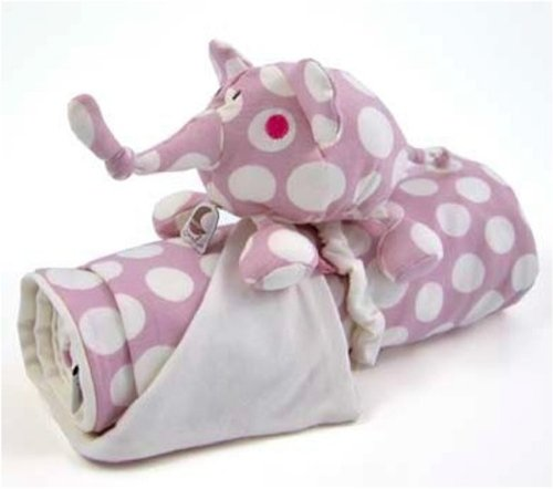 Cheery Stuffed Elephant BOLLI and Receiving Blanket, 26x36 Inches, Pink Color