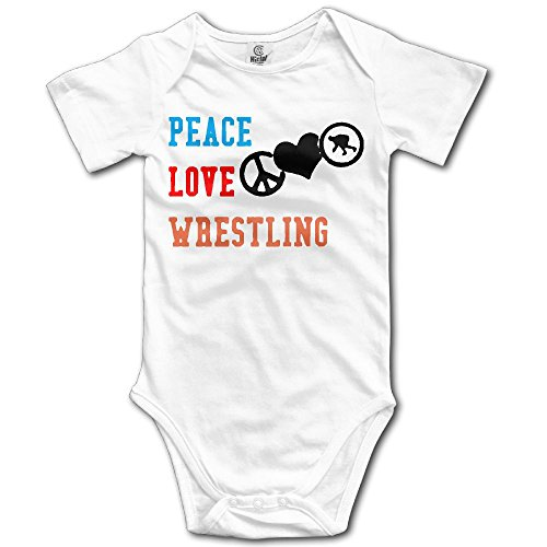 MMJQ6 Peace Love Wrestling Baby Newborn Infant Creeper Short Sleeves Romper Bodysuit Onesies Jumpsuit by MMJQ6