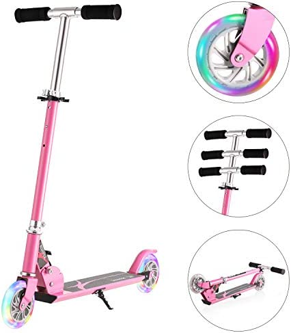 Hikole Scooter for Kids Scooters Foldable Portable Adjustable Height Kick Scooter with 2 LED Light Up PU Flashing Wheels, Birthday Gifts for Toddlers Boys Girls Kids Age 4-12 Years Old