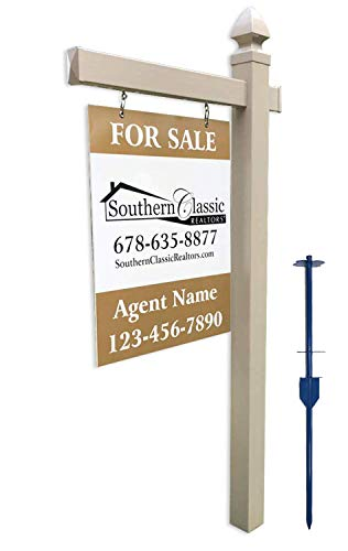 4EVER Vinyl PVC Real Estate Sign Post - Khaki